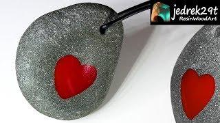 DIY. Red HEART  in Stone / ART  RESIN