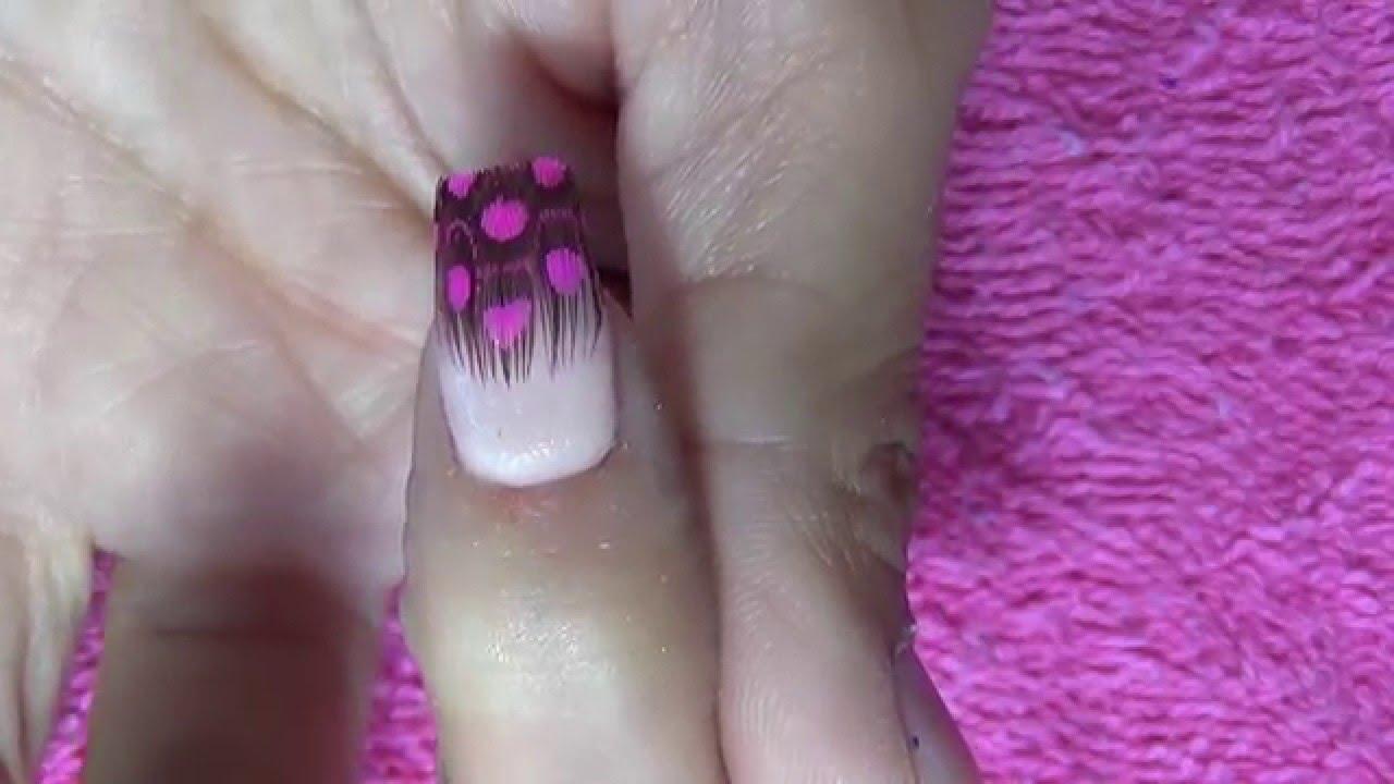 Uñas acrílicas con plumas - YouTube