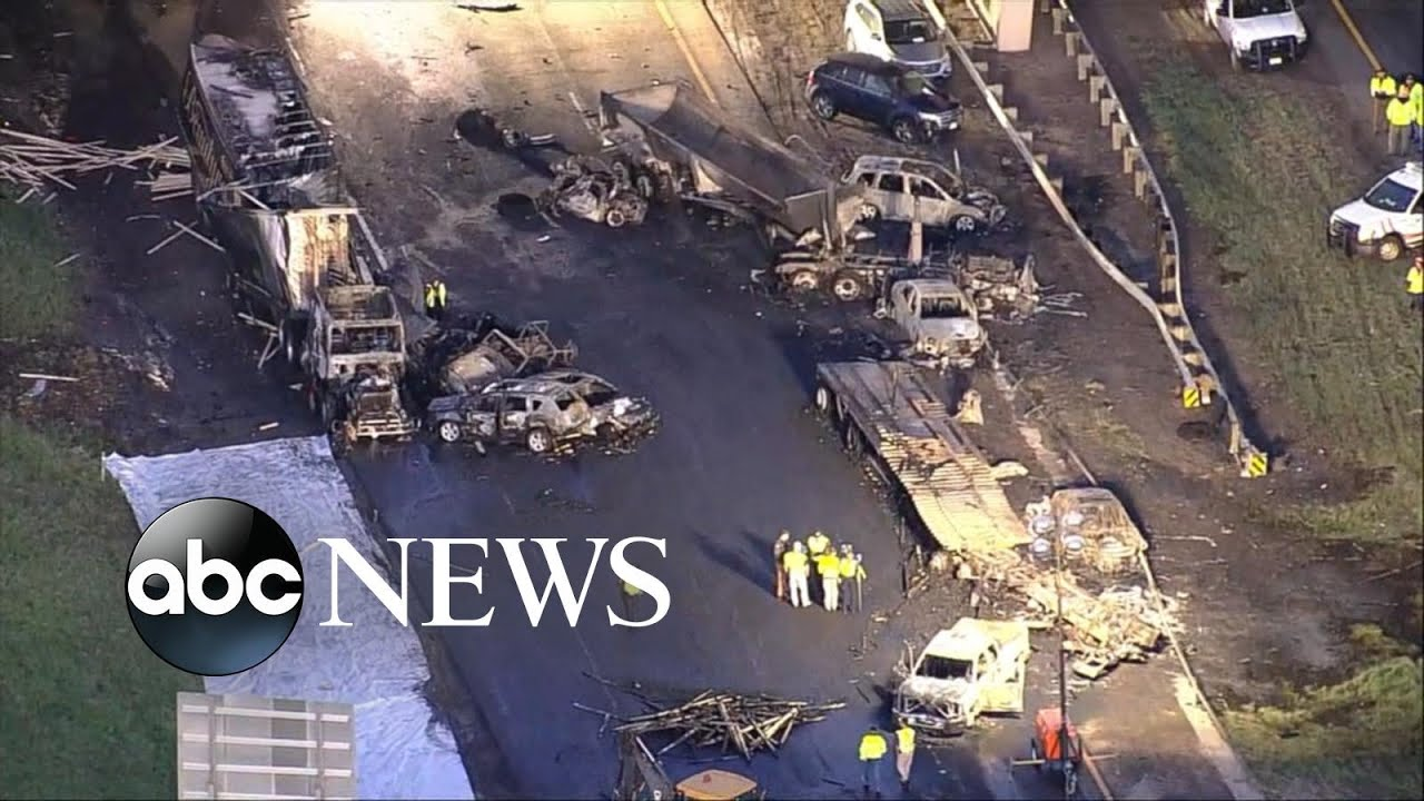 Semi-truck plows into stopped traffic causing deadly highway pileup