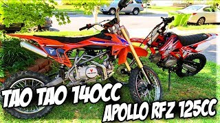 Apollo 125cc RFZ Vs Tao Tao 140cc DBX1 Dirt/Pit Bike Race!