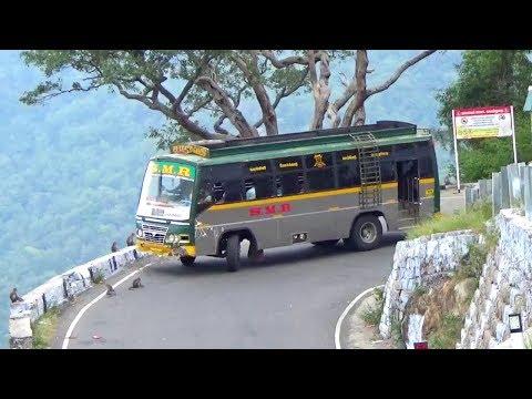 Private Bus And Bike Turning Hairpin Bend Hills Road Monkey Crossing Kollimalai Hills Namakkal