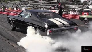 Ram Air IV GTO vs Chevelle SS 454 LS6 - 1/4 mile Drag Race Video and Massive Burnout - Road Test TV