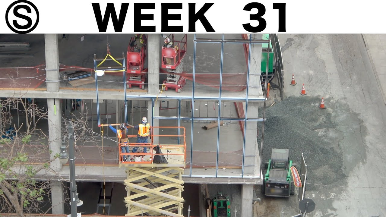 One-week construction time-lapse w/closeups: Week 31 of the Ⓢ-series: curtain wall, endless gravel