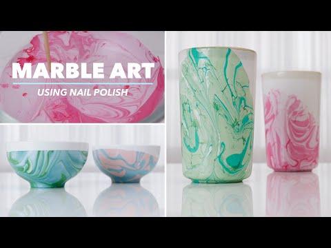 MARBLE ART DIY | Repurposing Glasses, Bowls & Plates Using Nail Polish | Modge Podge Craft Ideas