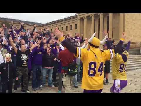 Vikings fans SKol Chant on Rocky Steps in Philadelphia