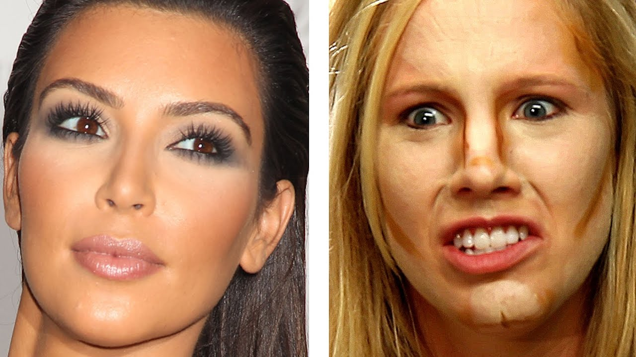People Try Kim Kardashian Makeup For The First Time Youtube