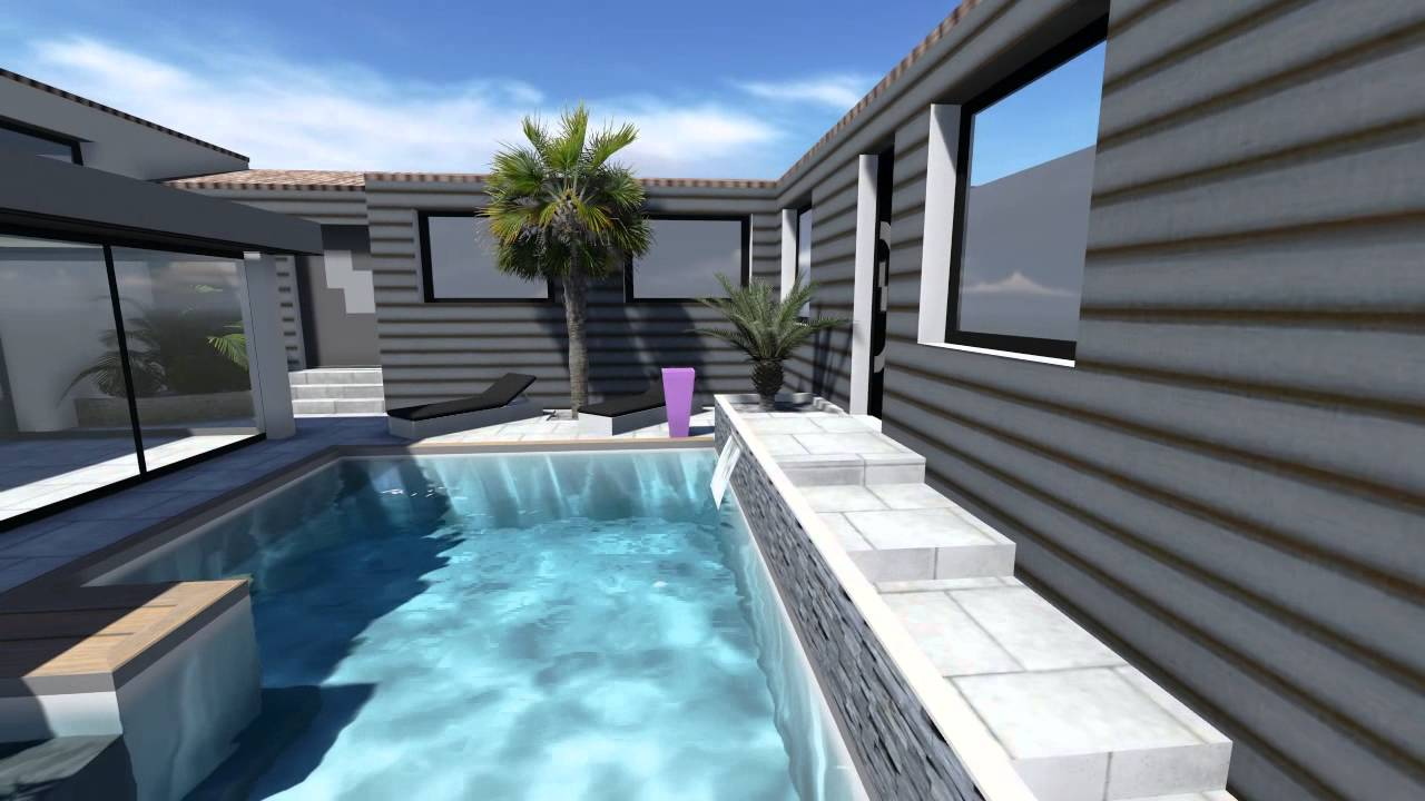 Extension maison v randa et piscine youtube for Chauffage piscine et maison
