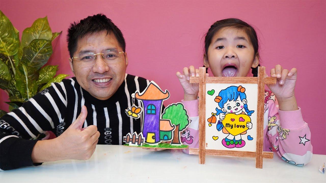 Bé Bún Tô Màu Bức Tranh Bạn Gái – Bố Tô Màu Bức Tranh Ngôi Nhà | Coloring pictures for kids