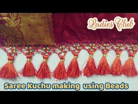 Saree tassels making using round beads I Saree kuchu design I saree gonde I kuchulu design - 동영상