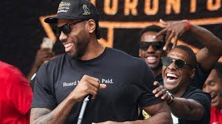 Kawhi Leonard mocks his laugh in speech at Raptors parade