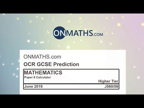 2019 OCR Paper 6 Predicted Higher Maths GCSE Calculator Exam J560/6 thumbnail