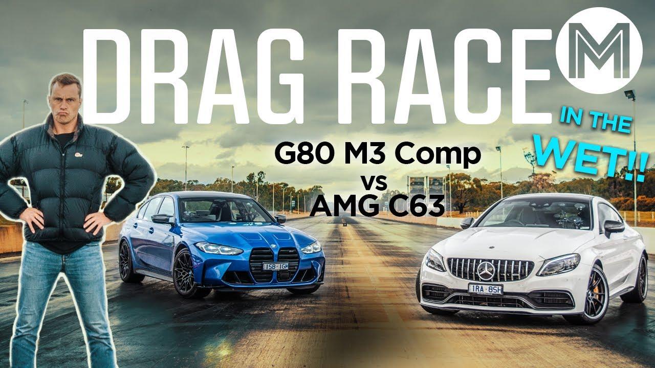 AMG C63 v BMW M3 DRAG RACE - Ultimate German grudge match! | MOTOR