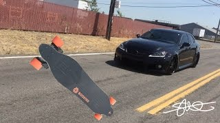Black Lexus ISF Rolling Video Shot Using a Boosted Board 22 MPH - new CQUARTZ Ceramic Paint Coating