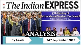 24 Sept 2019 - The Indian Express Newspaper Analysis हिंदी में - [UPSC/SSC/IBPS] Current affairs