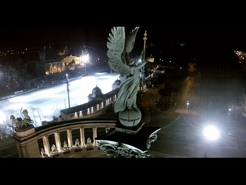 Drone over Heroes' Square Budapest At Night - Budapest Hősők tere éjszakai drone