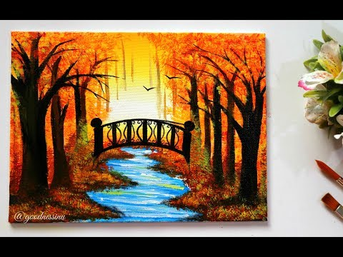 STEP by STEP  Autumn Landscape Painting Tutorial for Beginners