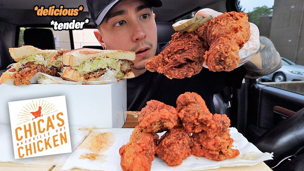 I Found NASHVILLE HOT Fried Chicken In Toronto! CAJUN Waffle Fries, Hot Fried Chicken Leg MUKBANG