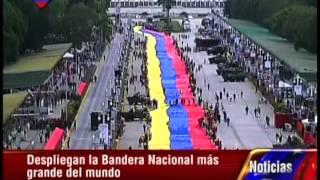 Comienza el despliegue de la bandera de Venezuela más grande jamás hecha