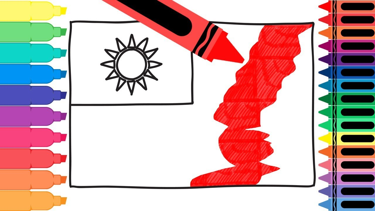 How to draw taiwan flag coloring pages for kids for Taiwan flag coloring page