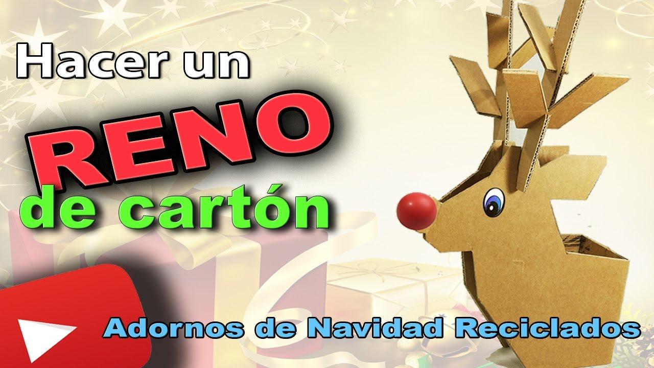 Hacer un reno de cart n adornos navide os reciclados - Como realizar adornos navidenos ...