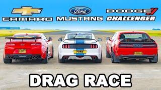 Ford Mustang King Cobra v Chevy Camaro v Dodge Challenger SRT: DRAG RACE
