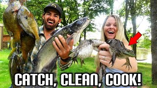 Catching BIG BLUEGILL, LIMB LINE CATFISH, and GIANT BULLFROGS! The Ultimate CATCH and COOK Slam!