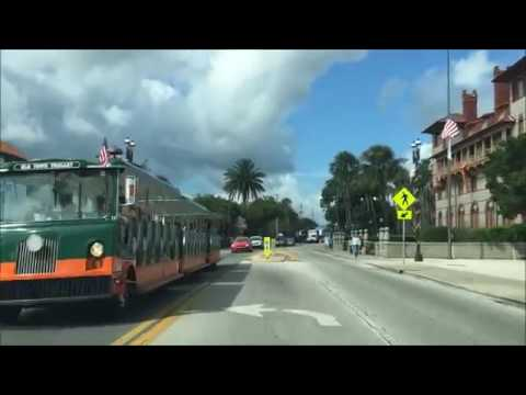 Driving Downtown St Augustine Florida USA