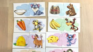 Ассоциации для малышей. Что кушают животные. Настольная игра для малышей