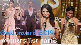 Gold award 2019 winners list part2|| Kisne jeeta best actor and actress award || gold award 2019