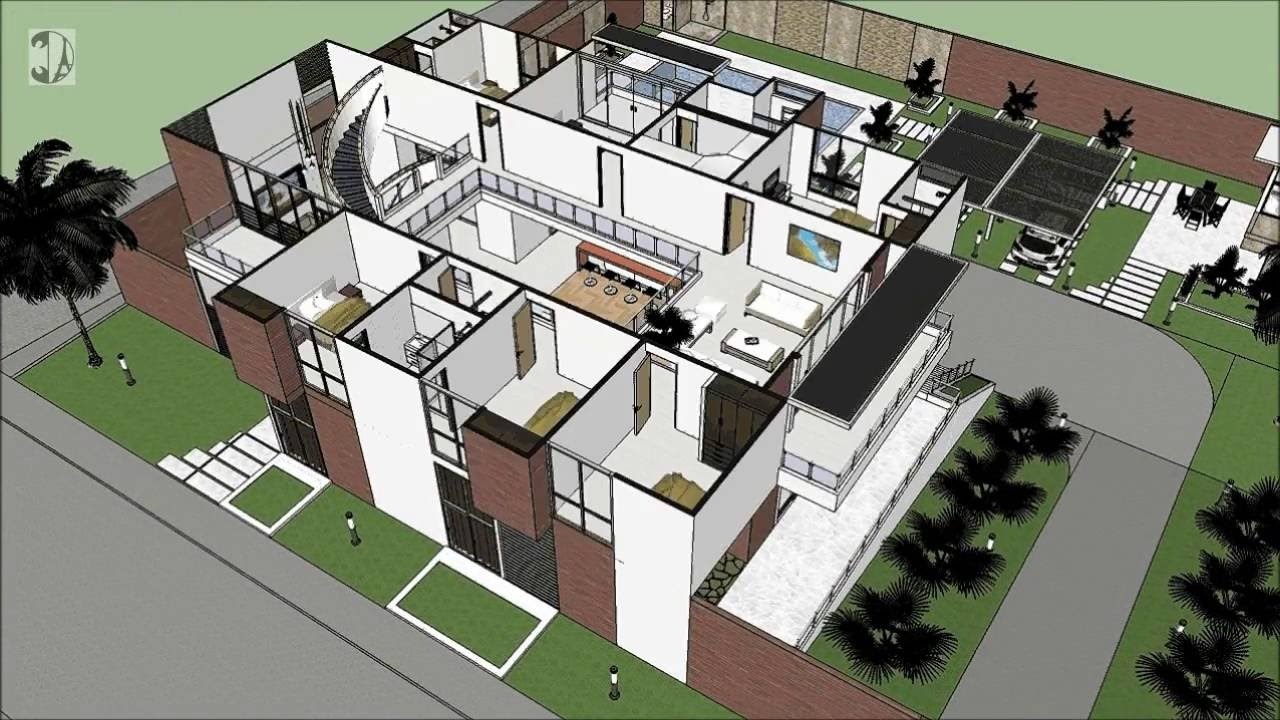 Casa moderna de 4 pisos chinchin distribuci n for Distribucion de casas modernas