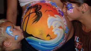 Pregnant Belly Painting - Tropical Island