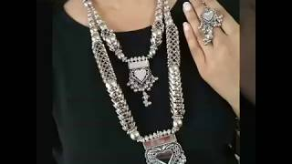 Designer Silver Neckless Set Collection||Navratri Special Oxidised German Silver Jwellery||