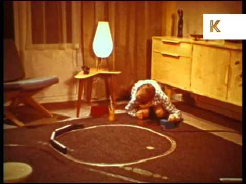 1960s Boy Playing with Train Set, Children's Toys, Colour Archive Footage