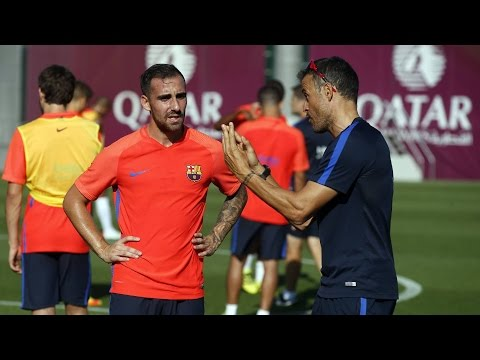 FC Barcelona training session:  Paco Alcácer has trained for the first time at Barça