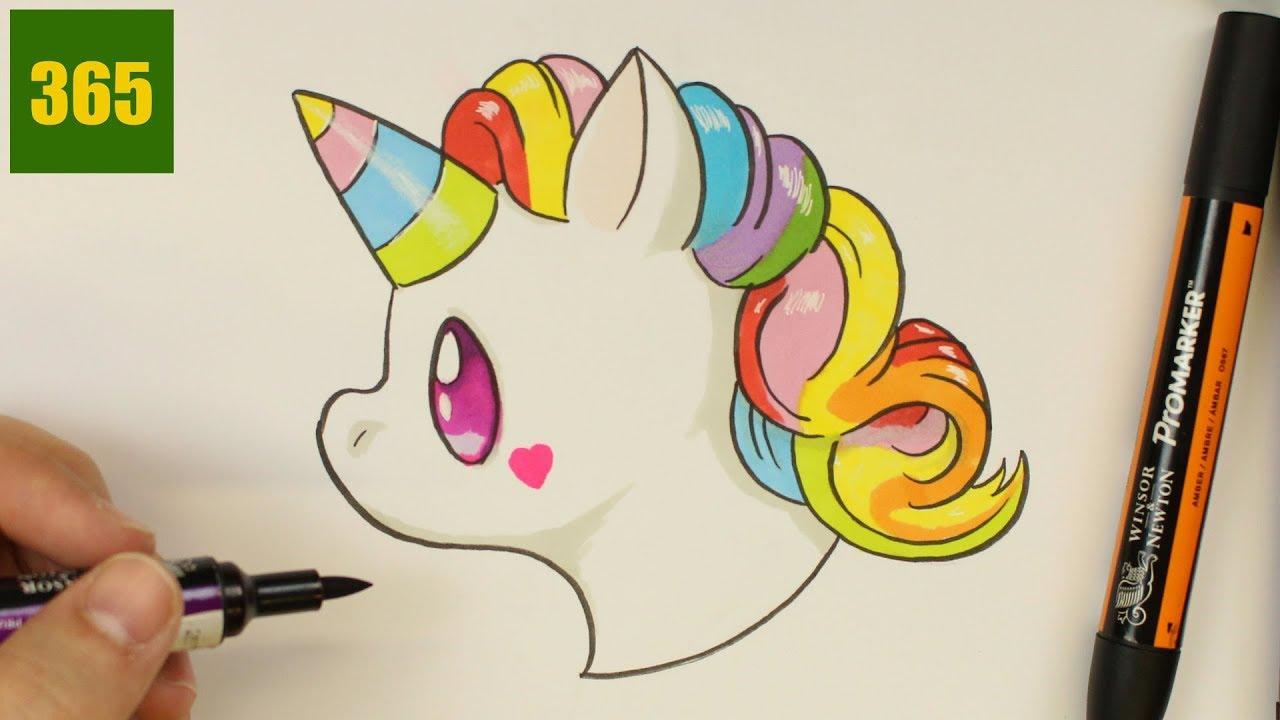 Comment Dessiner Une Licorne Emoji Kawaii Dessiner Kawaii Facile