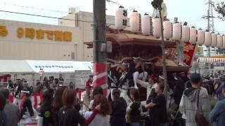 南掃守地区だんじり祭り 八坂町のやりまわし 下松駅付近 2014