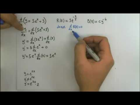 Find the Derivative y=5e^x+3, R(t)=5t^(-3/5), B(y)=cy^(-6)