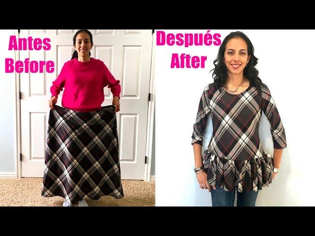 De Vieja Falda a Blusa Peplum/From outdated Skirt to a Peplum Shirt.