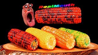 [4K EATING] Rainbow Corn, Melon Corn, Orange Corn, Pineapple Corn, Strawberry Corn Kids fun MUKBANG