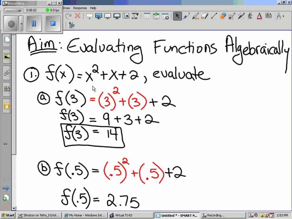 Worksheet Evaluating Functions Worksheet 03 01 2011 algebra 2 evaluating functions algebraically youtube algebraically