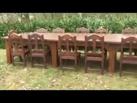 Antique Oak Dining Room Table and 14 Worcester Cathedral Oak Chairs - UKAA