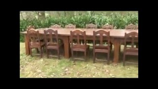 Antique Oak Table And 14 Worcester Cathedral Oak Chairs