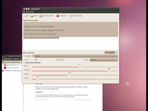 Ubuntu 10.04 + Gespeaker  ( Text to Speach - Sprachausgabe )