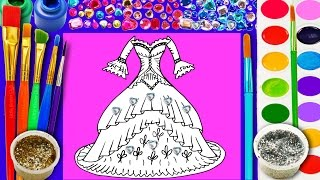 How to Draw Pretty Dress Coloring Page for Children to Learn to Color with Glitter Watercolor Paint