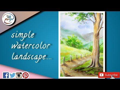 watercolour painting of a beautiful landscape with tree || very easy landscape painting tutorial