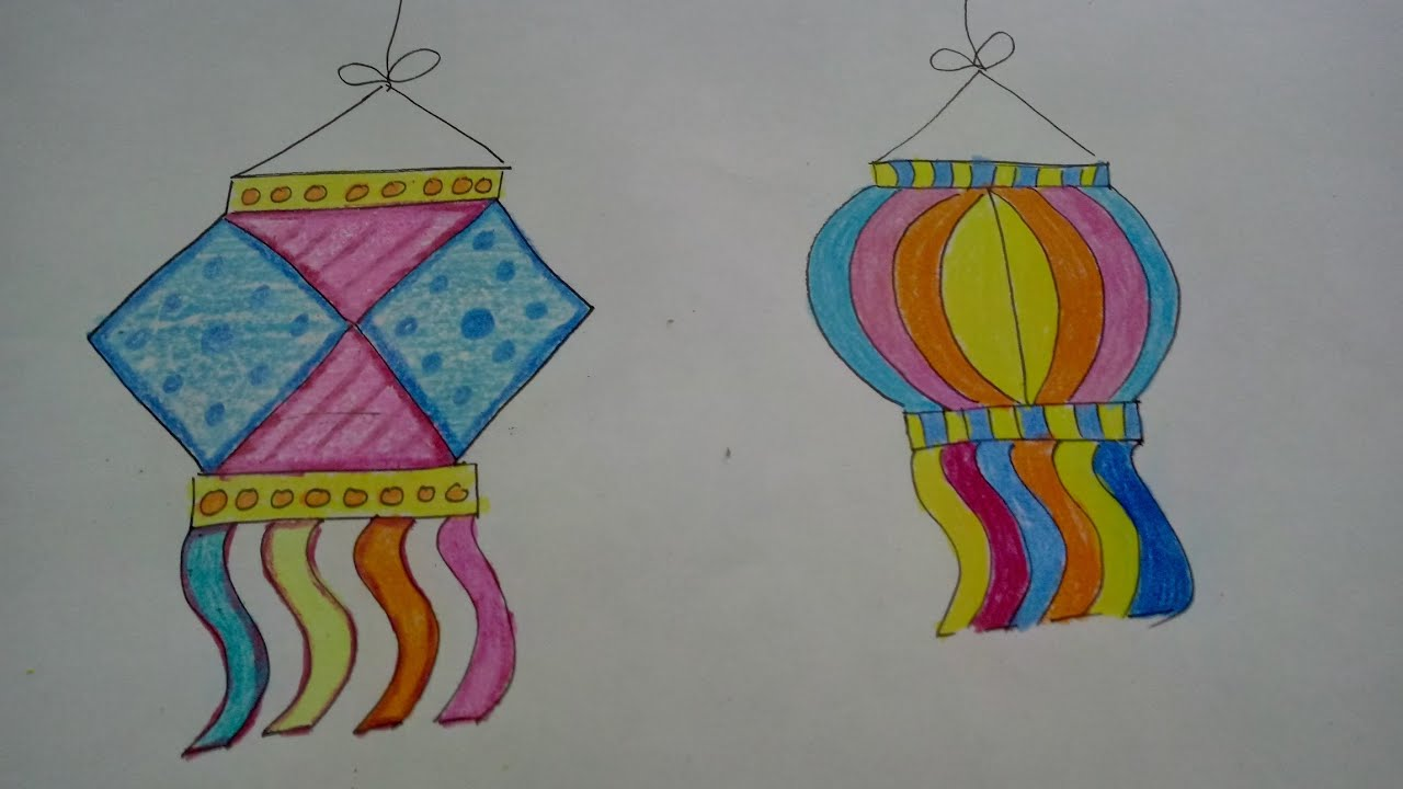 Draw And Colour Diwali Lamps/Kandil | How To | CraftLas - YouTube for Diwali Lantern Drawing  174mzq