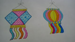 Draw And Colour Diwali Lamps/Kandil | How To | CraftLas