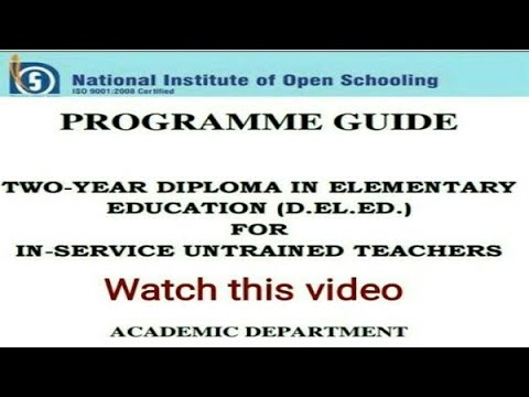 D.el.ed programme Guide D.el.ed Free/cheapest online एजुकेशन college degree courses by nios.