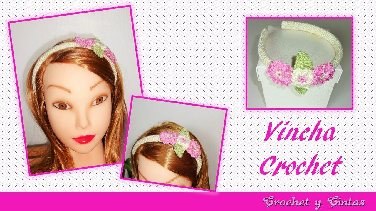 Diadema - vincha decorada con flores tejidas a crochet (ganchillo ...