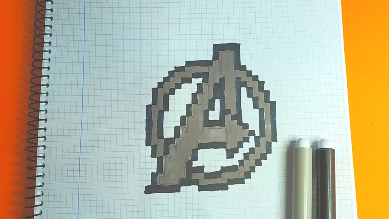 How To Draw Avengers Logo Marvel Pixel Art Tutorial